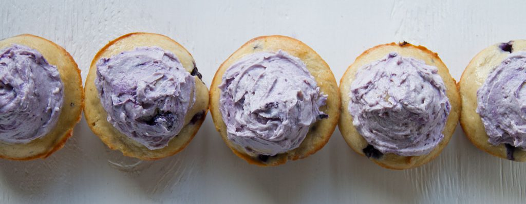 Blueberry Protein Muffins with Cheesecake Icing