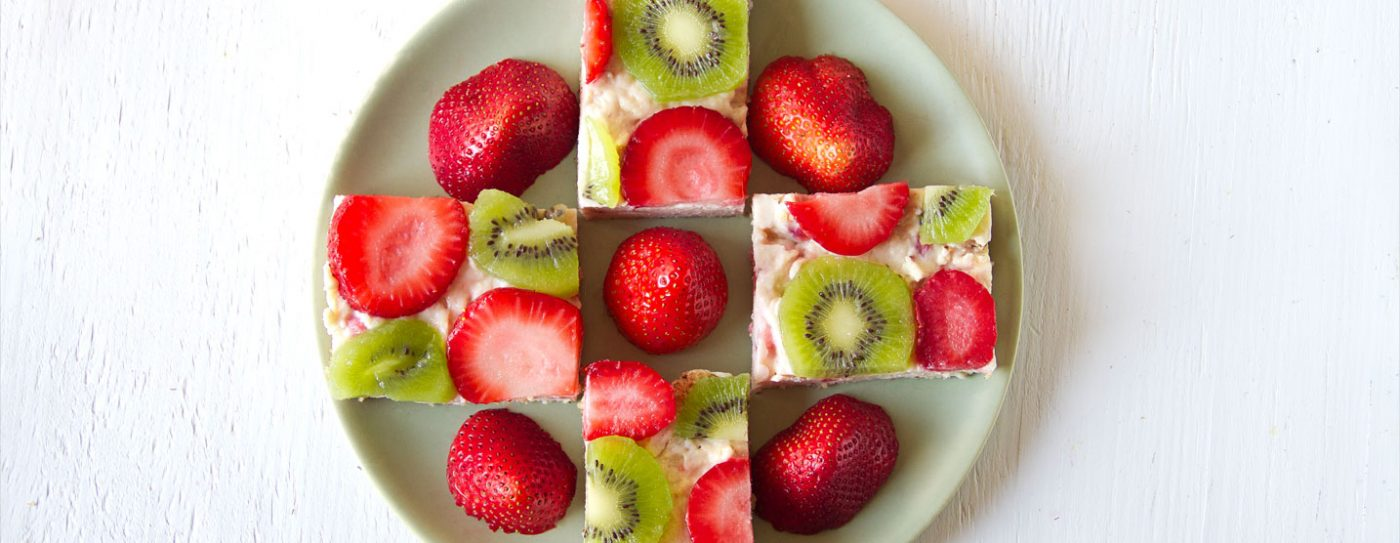 Kiwi Strawberry Protein Cheesecake Squares